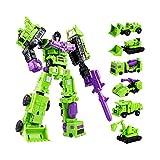 ghjkl Giōcàttōli Trànsfōrmêrs, 6 in 1 Modello Difensore Devastator Deluxe Action Figure Versione Autobot Engineering Vehicle può Essere Combinato Giocattoli