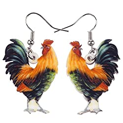 Realistic rooster earrings are perfect gifts for chicken lovers