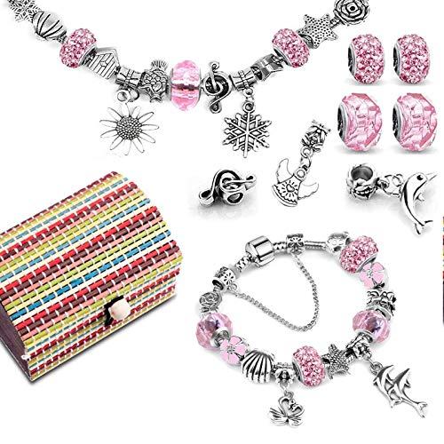 Charm Armband Kit DIY, Geschenke für Mädchen Teens, Armbänder Selber Machen Kinder für Schmuckherstellung, Charm Freundschaftsarmband Armband Basteln Adventskalender zum Befüllen 2021 (3 Silber Kette)