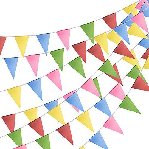 FORMIZON 100M Wimpelkette mit 200 Stück Dreieck Flaggen, Mehrfarbig Nylon Stoff Bunt Wimpel Banner Girlande Drinnen & Draußen Dekoration für Geburtstag, Hochzeit, Party, Outdoor, Indoor (Farbe)