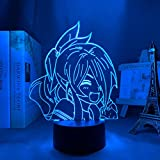 Luz de noche LED 3D Anime Food & Wars para decoración de dormitorio Niños Manga Shokugeki No Soma Lámpara Mesita de noche para niños Cumpleaños / Regalo de Navidad, Touch