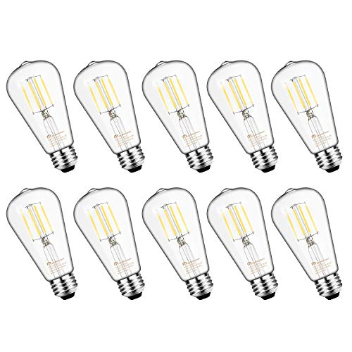 Mastery Mart Vintage LED Light Bulb, Glass ST21 Antique Edison Style, Dimmable 5.5W (60 Watt Equivalent), 500LM 5000K Daylight White, E26 Decorative Filament Bulb, UL and Energy Star, 10 Pack