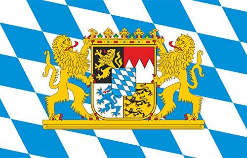 Aufkleber Fahne von Bayern mit Löwenwappen und Rauten Flaggen Sticker Autoaufkleber