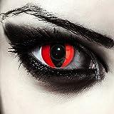 """Designlenses, Dos lentillas de colores rojas para Halloween costume ojo de gato/dragón lentes de tres meses sin dioprtías/corregir + gratis caso de lente """"Red Cat eye'"""