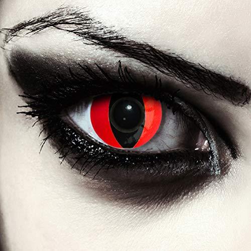 """Designlenses, Dos lentillas de colores rojas para Halloween costume ojo de gato/dragón lentes de tres meses sin dioprtías/corregir + gratis caso de lente """"Red Cat eye"""