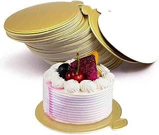 HansGo Mini Round Golden Cardboard Cake Base, 100PCS Cake Paper Plates Circle Cardboard Base Dessert Board Base Grease