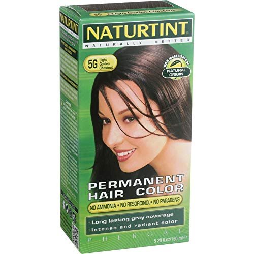 Permanent Hair Colorant with Active Vegetable Ingredients, 5G Light Golden Chestnut, 5.45 fl oz 155 ml, From Naturtint by Naturtint