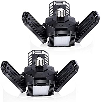 2-Pack Tanbaby 100W LED Garage Lights with Multi-Position Panels