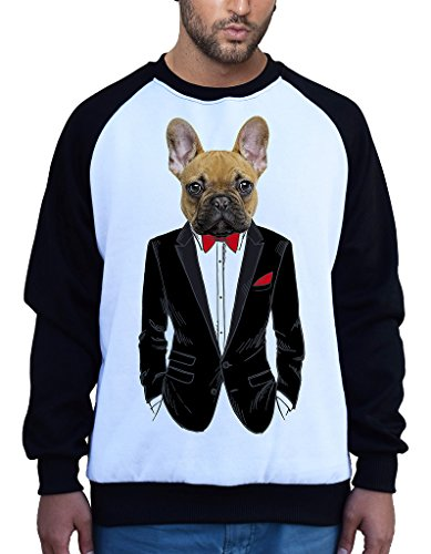 Men's Fancy French Bulldog Tuxedo Tee B888 PLY Raglan Baseball Sweatshirt Small