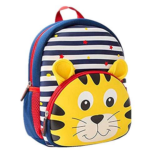 Toddler Backpack, 3D Cute Cartoon Neoprene Animal Waterproof Preschool Backpack for Boys for 1-6 Years Boys , Tiger