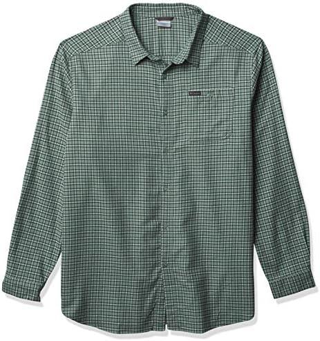 Columbia Men s Big Tall Cornell Woods Flannel Long Sleeve Shirt Aqua Tone Plaid XLT product image