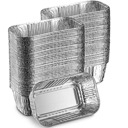 """MontoPack Aluminum Mini Disposable Loaf Pans   Deep Half Size 6 x 3.5"""" Extra Thick Foil Bread Containers for Baking, Food Storage & Takeout   Eco-Friendly & Recyclable   Bulk 100-Pack of 1 Pound Trays"""