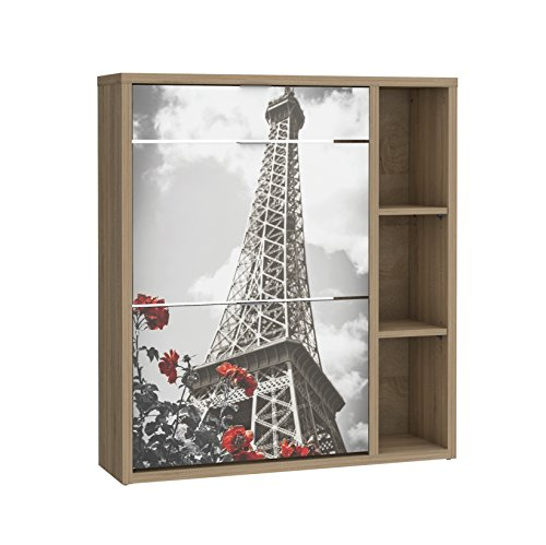 Suarez Okra Paris Zapatero, Roble, Blanco, 24.2x90x100 cm