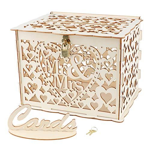 VINFUTUR Hochzeit Geschenkkarten Box Vintage Holz Kartenbox mit Schloss Briefkasten Kartenkiste für Hochzeit Geburtstag Baby Shower Dank Party