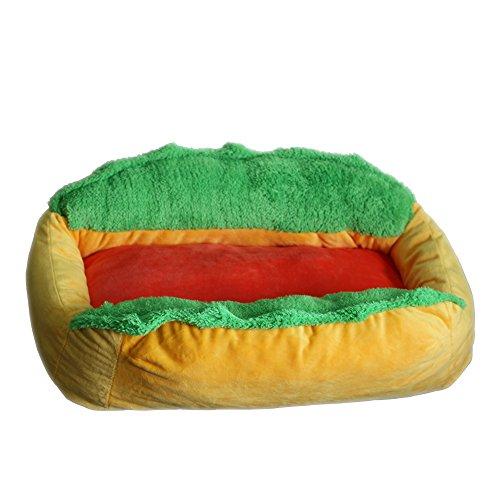 """Jasoy Haustierbett, komfortabel und stilvoll, mit Reißverschluss, Aufschrift: """"Hot Dog"""", gelb / grün."""