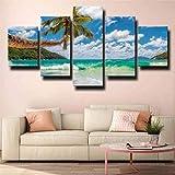 QWASD Impresión En Lienzo - 5 Piezas - Cuadro sobre Lienzo - Palmas De Playa Cuadro De Pintura Póster De Arte Moderno Oficina Sala De Estar O Dormitorio Decoración del