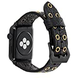 for Apple Watch Band 44mm 42mm Black Leather, FALANDI Rock Style Hollow Rivets Genuine Leather iWatch Strap Women Men Replacement Wristband for Apple Watch Series 4 Series 3 Series 2 Series 1 - Black