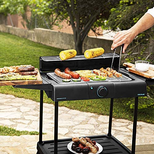 Cecotec Barbecue électrique PerfectSteak 4250 Stand de 2400 W, Gril en Acier Inoxydable, Supports de Grande Surface, 3 Niveaux de Hauteur et Pare-Vent
