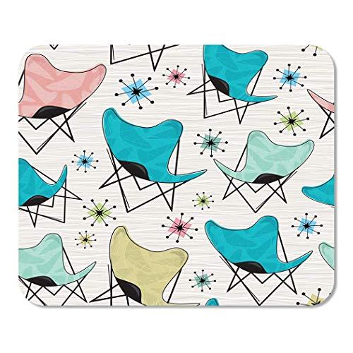Mousepad Bloc de Notas Office Pink 1950S Patrón de Silla de Mariposa Retro con bumeranes y Estrellas atómicas Teal 1960S Home School