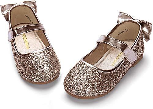 PANDANINJIA Toddler/Little Kid Girl's Angela Dress Mary Jane Ballet Flats Bow Flower Girl Wedding Party Ballerina Flat Shoes (Champagne Sequin, 10 M US Toddler)