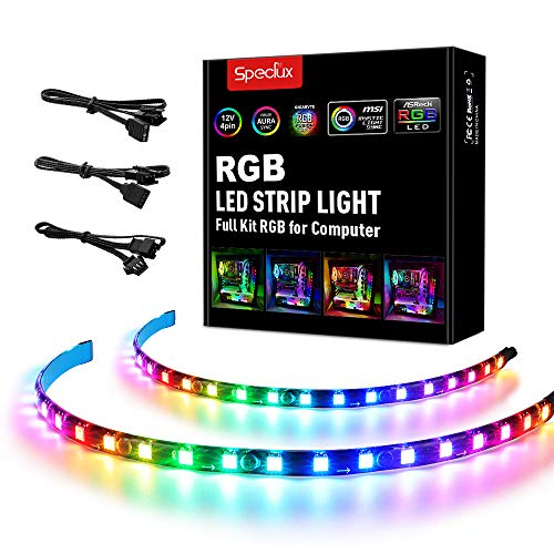 Addressable PC LED Strip, Speclux Rainbow Magnetic RGB Strip PC Case Lighting, 2PCS Computer LED Strip Lights 42LEDs for 5V 3-Pin ASUS Aura SYNC, Gigabyte RGB Fusion, MSI Mystic Light Sync Motherboard