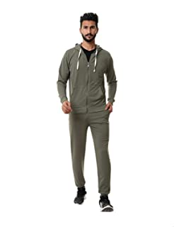 Off Cliff Front Pockets Drawstring Zipped Jacket with Side Pocket Pants Training Suit for Men