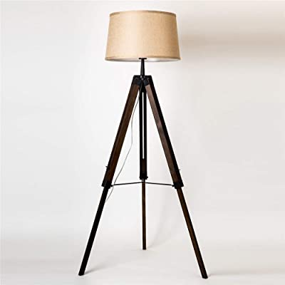 Diseño lámpara de pie trípode con pantalla de tela, Madera ...