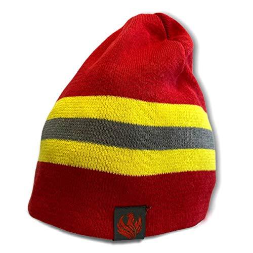 Roter Hahn 112 Feuerwehr (Winter) Mütze I ROT I Reflexstyle Gelb-Silber I...