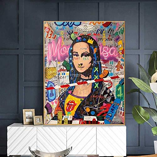 Impression sur Toile 60x90CM sans Cadre Mona Lisa Street Graffiti Art Drôle sur Le Mur Art Photo pour Salon Décor À La Maison