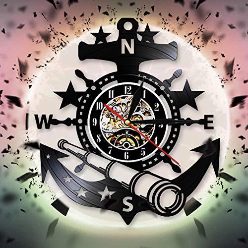 wttian Reloj de Pared con Volante de Barco náutico Marino, Reloj de Pared con Registro de Vinilo Vintage, Relojes con Ancla, decoración de Pared para Sala de Estar, Dormitorio