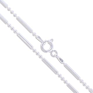 Sterling Silver Ball Bead Bar Chain 1.5mm Solid 925 Italy Unique Necklace