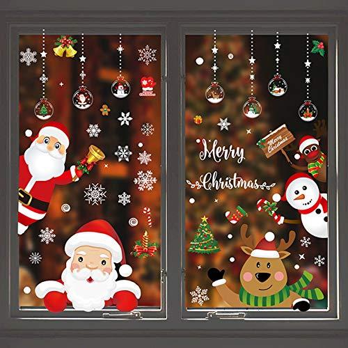 Lunriwis 160 Weihnachten Fensterbilder, Abnehmbare Weinachten Fensterdeko Aufkleber, Fensteraufkleber Weihnachten Fenstersticker aus PVC für Weihnachts-Fenster Dekoration, Türen,Schaufenster