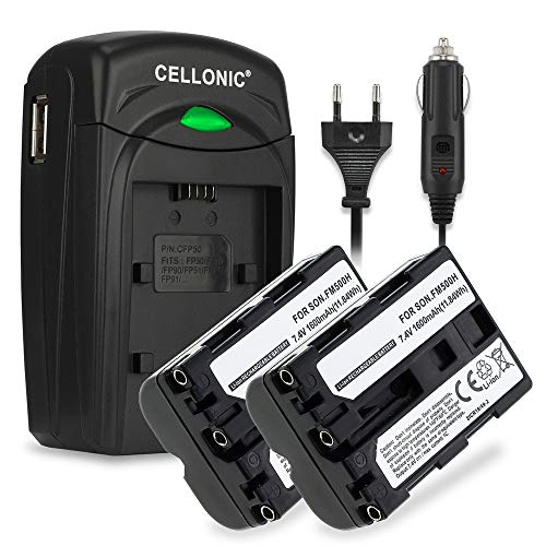 CELLONIC 2X Batería Compatible con Sony A7 II A77 II A57 SLT-A58 A65 Alpha 68 A68 A99 II DSLR-A200 A300 A350 A500 A550 A580 A700 A850 A900 ILCA, NP-FM500H + Cargador BC-VM10 Automóvil Pila Repuesto