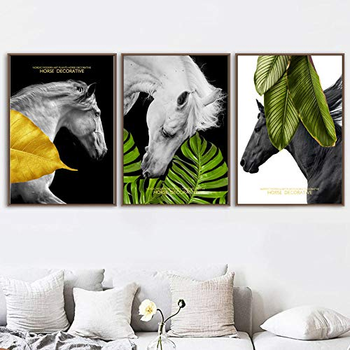 hdbklhjxk Canvas foto's Home Decor Scandinavische plant laat dieren en paarden foto's moderne gedrukte poster voor de woonkamer muurkunst 40x60cmx3 niet ingelijst