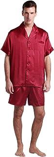 LilySilk Men's Silk Pyjamas Shorts Set Notched Collar 22 Momme Pure Silk Claret Size 48/XXXL
