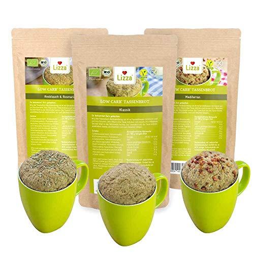 Lizza Low Carb Tassenbrot in 3 Variationen | Bio. Glutenfrei. Vegan. Proteinreich. Ballaststoffreich | Geeignet für Deine Keto Ernährung | 3x 250g Packung (250g ergeben 3 Tassenbrote)