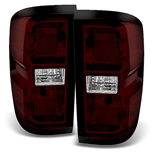 For Chevy Silverado 1500 2500HD 3500 Pickup Truck Dark Red Left + Right Tail Light Replacement Pair Set