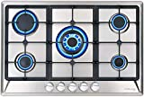 30' Built-in Gas Cooktop, GASLAND Chef GH77SF 5 Burner Gas Hob, 30 Inch NG/LPG Convertible Natural Gas Propane Cooktops, High Power Burner Gas Stovetop with Thermocouple Protection, Stainless Steel
