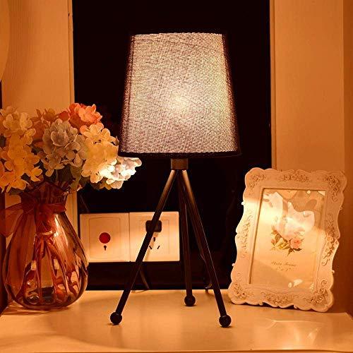 DEJ moderne, Scandinavische, minimalistische, industriële Led bureaulamp, Led nachtlampje stof lampenkap Iron Made Lamp beugel voor slaapkamer, studie, decoratie, geschenk, zwart