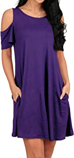 Womens Cold Shoulder Swing Dresses Casual Tunic with Pockets