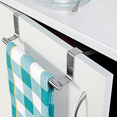 Tatkraft Horizon Over the Door Towel Rail Stainless Steel Towel Holder for Kitchens and Bathrooms with Anti-Slip Scratch-Protecting Stripe