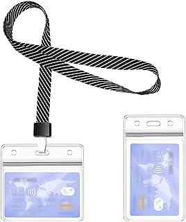 Lanière porte-cartes d'identité, 1 ensemble comprend - lanière noire à rayures personnalisées, porte-badges en plastique i...