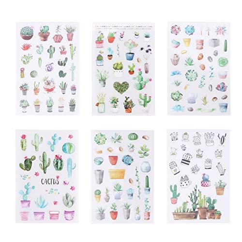 NUOBESTY Adesivi non tossici Adesivi impermeabili Cactus autoadesivi colorati Decalcomanie DIY Decor Scrapbooking Etichetta adesiva per Scrapbook e Agenda giornaliera 12 fogli/pacco