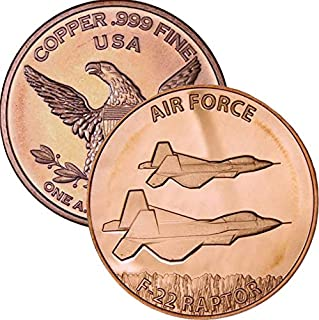 Private Mint 1 oz .999 Pure Copper Round/Challenge Coin (Air Force F-22 Raptor)