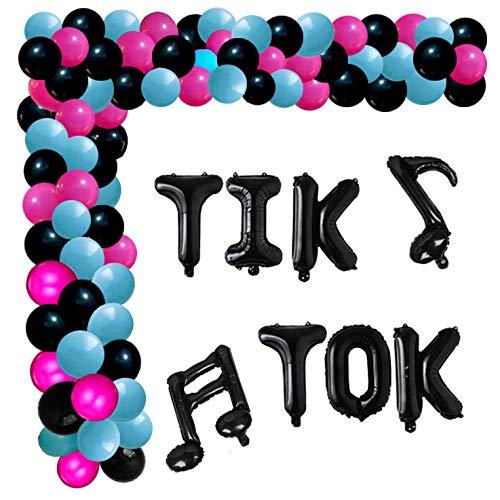 TikTok Balloon Arch Kit, Black Tik Tok Balloons Music Sign Foil Balloons Rose Red Black Blue Balloon for Tik Tok Themed Karaoke Party Decorations