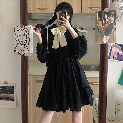 Mcttui Vestido Lolita Lolita Vestido Streetwear Shirt Shirt Cool Dating Ropa Bow Sweet Bow Vestido de Pastel de Mujer Otoño Coreano Manga Larga Kawaii Ropa Dulce Lolita Vestido (Color : Black)