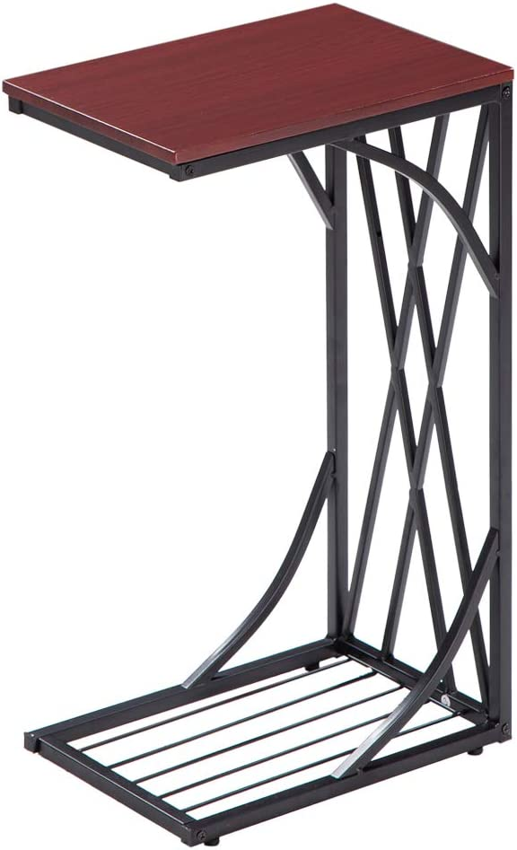 Knocbel Translated C-Shaped End Table with Metal Tab Sofa Frame Snack Side Sales