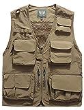 Flygo Men's Casual Lightweight Outdoor Travel Fishing Vest Jacket Multi Pockets (Large, Khaki)