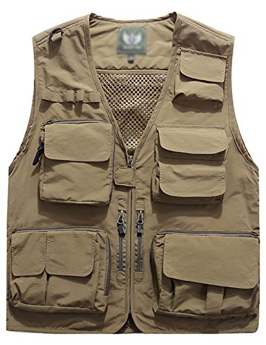 Flygo Men's Casual Lightweight Outdoor Travel Fishing Vest Jacket Multi Pockets (XXX-Large, Khaki)