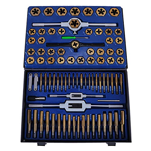 Mophorn Tap and Die Set 86 PCS Tungsten Alloy Steel Metric Tap and Die Kit for Cutting External and Internal Thread